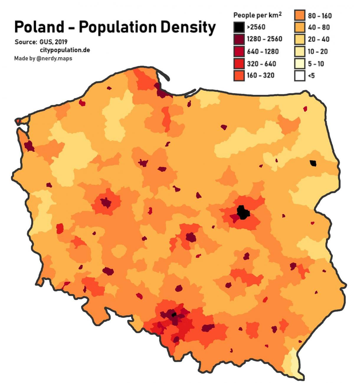 Puolan Vaestosta Kartta Kartta Puolan Vaestosta Ita Eurooppa